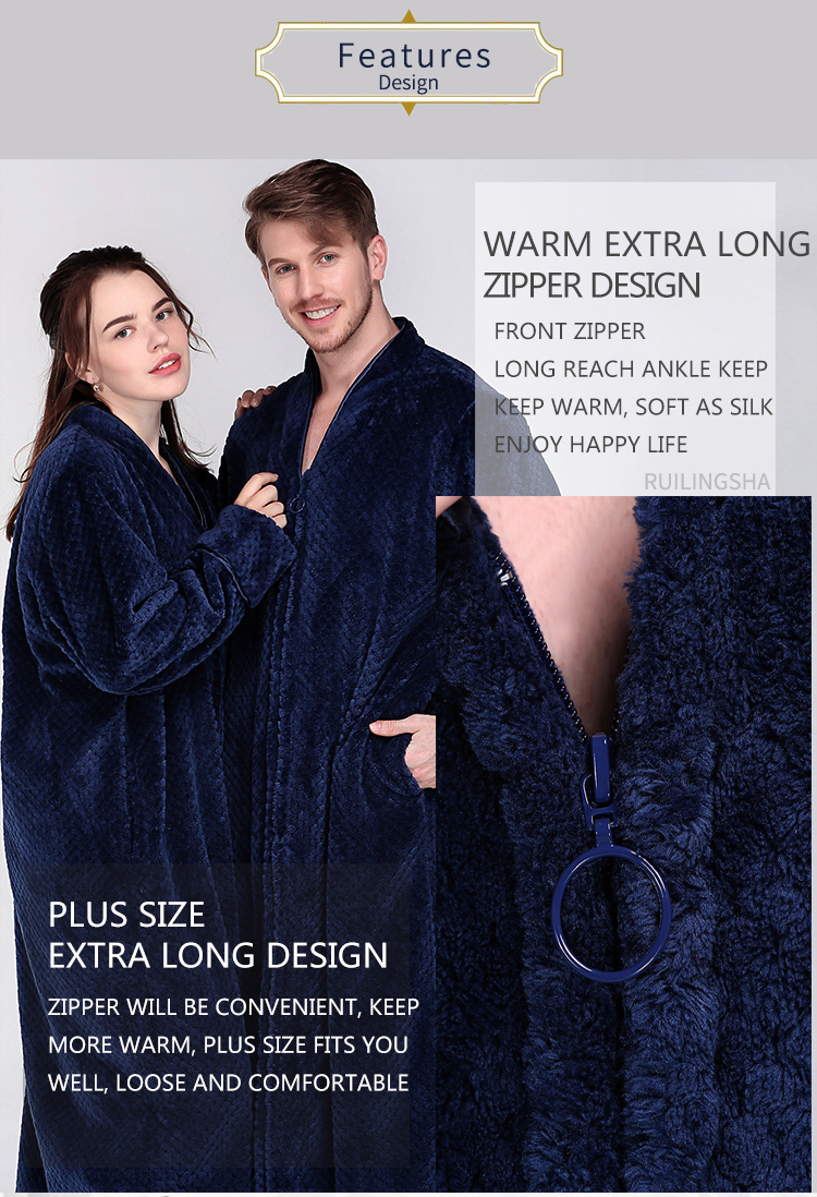 2019 Men Extra Long Thermal Flannel Bath Robe Zipper Plus Size Thick ... 0bb83438d