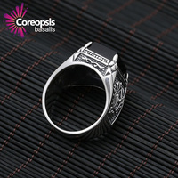 2017 Women's Vintage Rings 925 Sterling Sliver Jewelry Personality man Domineering black Shan stone wide version punk Wind