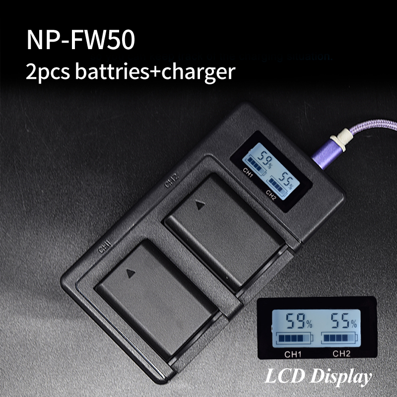 PALO 2x bateria NPFW50 NP-FW50 + smart LCD cargador de batería para SONY NEX 5 t 5R 5TL 5N 5C 5CK a7R A7 F3 3N 3CA55 A37 A5000 A6000 A55