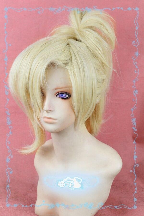 OW Mercy Angela Ziegler Light Blond Cosplay Ponytail Hair Heat Resistant Cosplay Costume Wig + Free Wig Cap
