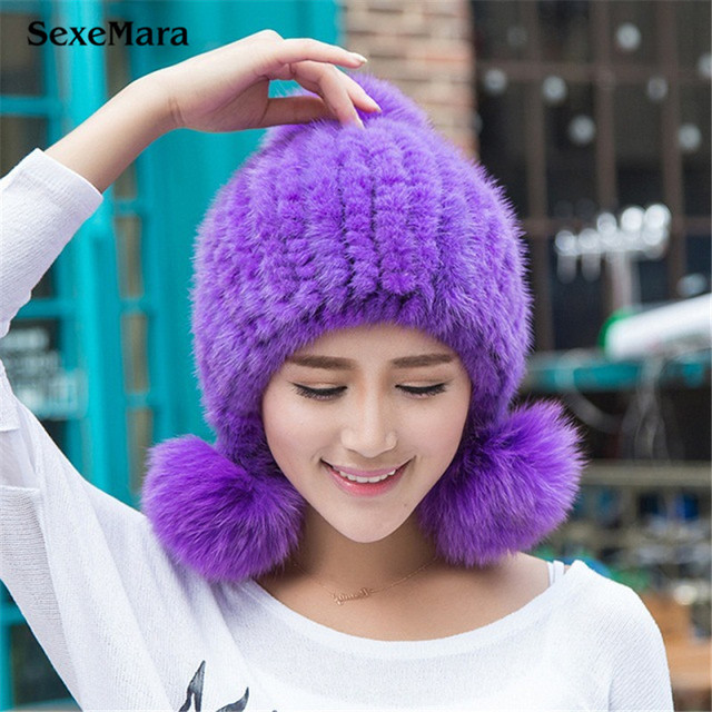 Russia Winter Hats for Women Genuine Mink Fur Hat with Silver Fox Fur 2016 Lady's Fashion High-end Female Cap 03-P23-28