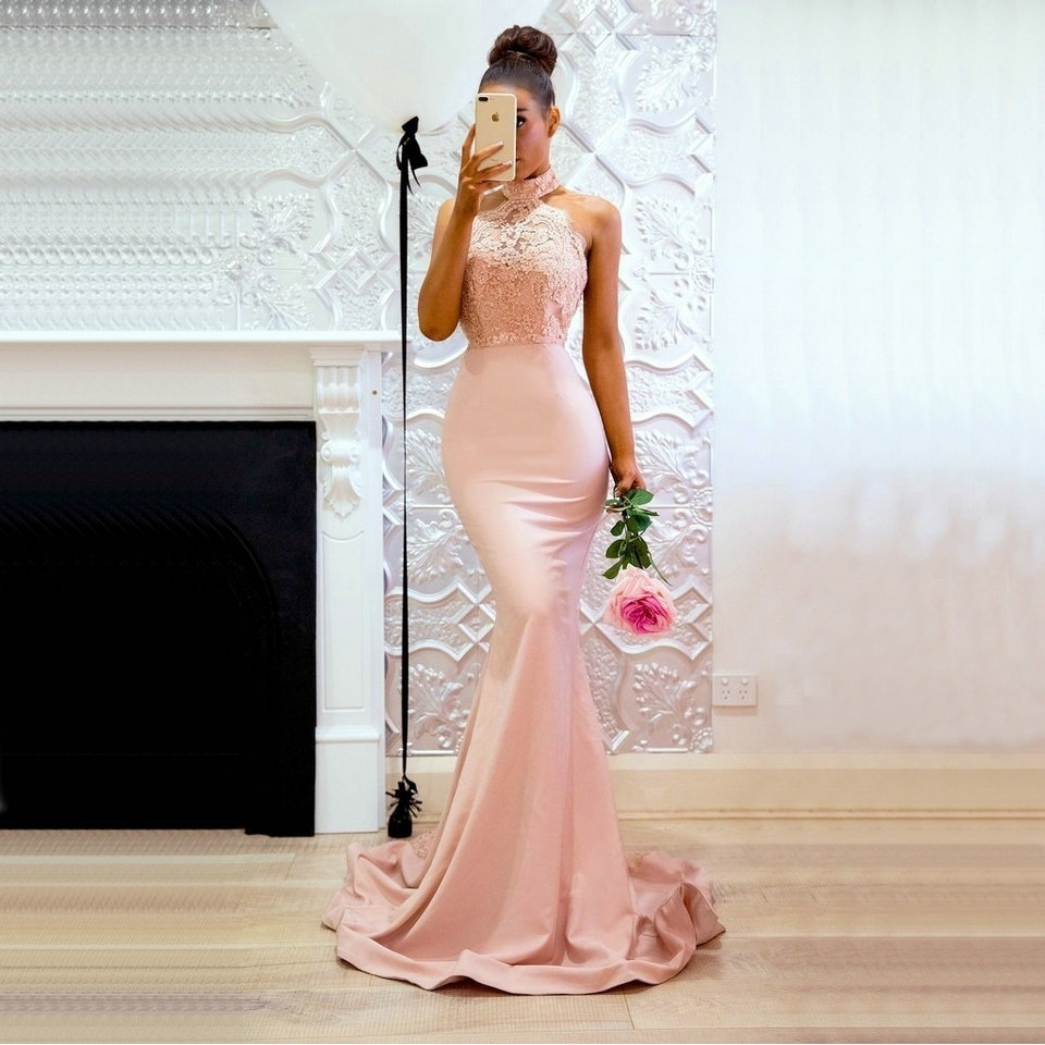 Sexy Backless   evening     Dresses   with train mermaid lace formal party   dress   2019 new year slim body party   dress   Vestido De Noiva
