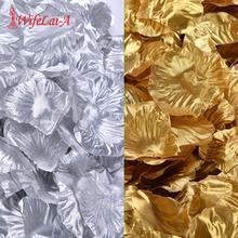 500 шт./лот, Золотые лепестки роз, серебряные искусственные цветы, полиэстер, свадебные украшения, аксессуары, романтические цветочные RP01-2