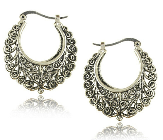 Vintage Peacock Feather Earrings For Women Ethnic Jewelry Antique Silver Color Metal Dangle Earring