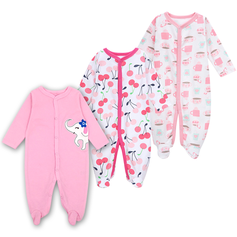 Newborn Baby Girls Footed Sleepers Pajamas Babies Boys Clothes Roupa Bebe 3 6 9 12 Months Infant Clothing