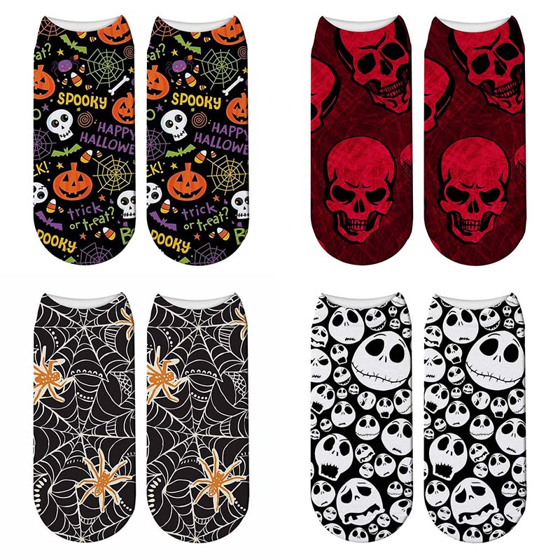 New Women Skull 3D Printed Halloween Socks Funny Pumpkin Lantern Socks Bone Horror Scary Sox Cosplay Party Gift Short Socks