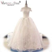 VARBOO_ELSA vestido de noiva 2017 Sexy Off the shoulder Wedding Dress White Lace Appliques Bridal Gown Lace Up Long Train Custom
