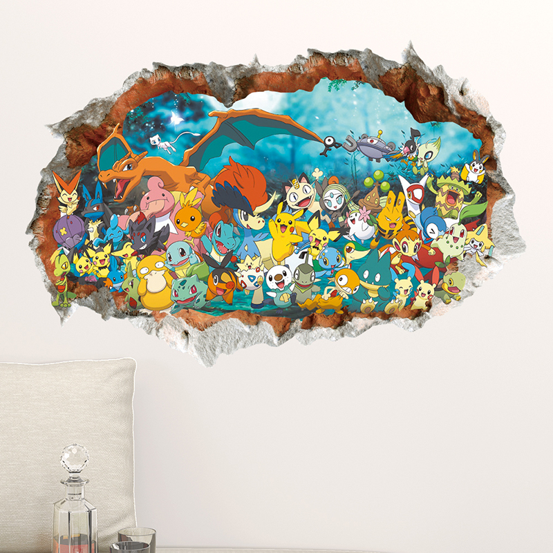 Pokemon Go Children Wall Stickers Home Living Room Decals DIY Pocket Monster Kids Baby Nursery Bedroom 3D Game PVC Mural Posters