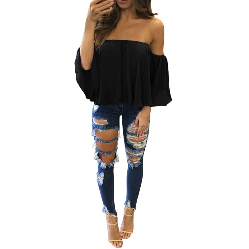 snowshine4 #3022 Lower Price Hight Quality Women Long Sleeve Pullover T Shirt Off Shoulder Casua