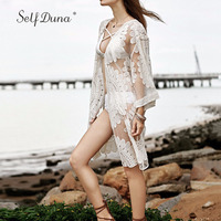 Self Duna 2017 Summer Women Long Lace Blouse Organza Transparent Lace Up Flare Sleeve Loose Sexy