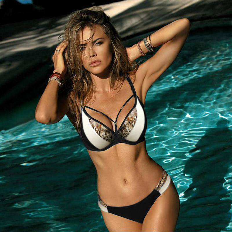 Miyouj Sexy Leopard Bikini Push Up Deep V Swimsuit Female Hollow Out Bathing Suit Women Snake Skin Print Biquini Halter Bikinis