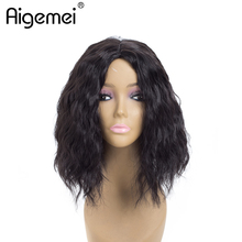 Aigemei Short Natural Wave Wig Middle Part Natural Color Synthetic Wigs  Fiber Bobo  Wig For Women 12'' 613# 2# 1B# adiors natural wave fluffy side parting short colormixed synthetic wig