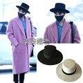 Bigbang GD солнце шерсть fedoras мода плоские края мода большой черный и белый плоским шляпа
