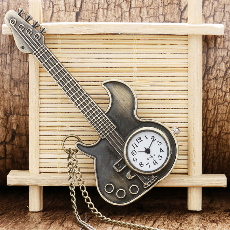 Steampunk Antique Bronze Guitar Shape Quartz Pocket Watch Necklace Pendant Girls Women Gift P130