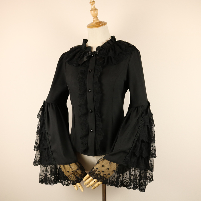 White/Black Flare Sleeve Girls Lolita Blouse Vintage Chiffon Lace Women's Shirt Sweet Lace Tops Ruffles Voile Shirts