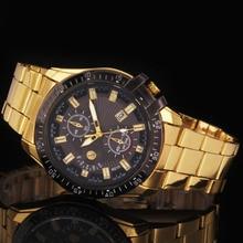 Golden & Rose Gold Luxury Men's Black Dial Gold Stainless Steel Calendar Date Quartz Analog Wrist Watch