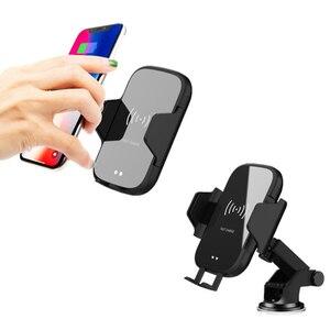 Image 1 - Bezprzewodowa ładowarka samochodowa 10W Qi automatyczna do xiaomi 9 Max Samsung S8 szybka ładowarka na podczerwień Air Vent uchwyt samochodowy do telefonu
