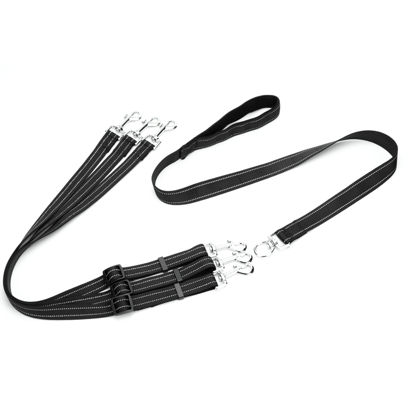 Reflective Three dogs Leash Detachable Pet Lead soft