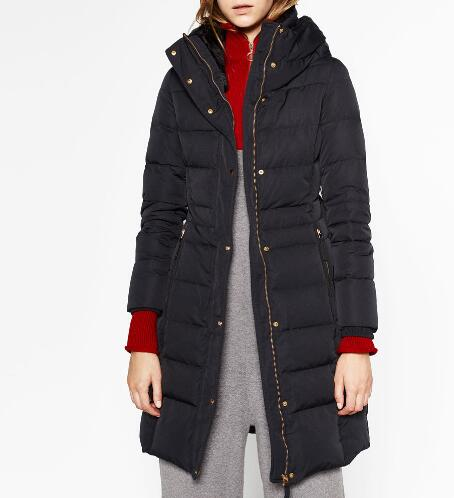 2016 Winter Woman Navy Blue LONG WATER REPELLENT ANORAK hooded Raised collar with faux fur Side zipped pockets Belted куртка everlast hooded bubble navy купить