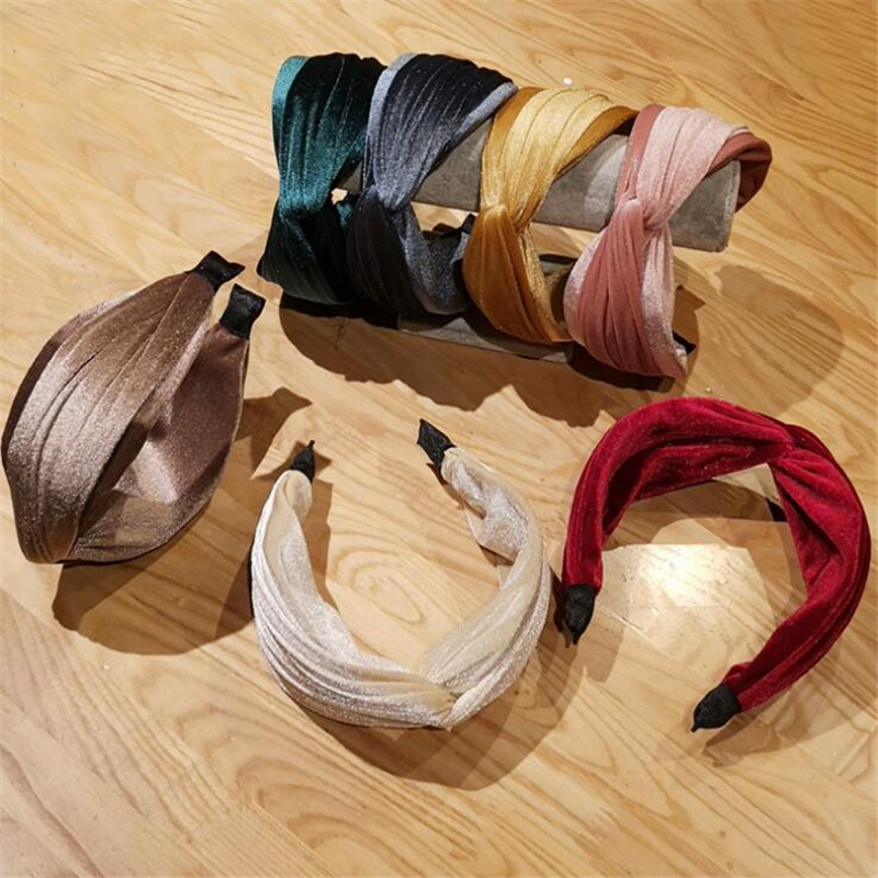 1 pc Vintage Women Girls Korean Solid Velvet Bezel Hair Accessories Hair Band Headband Girls Solid Color Retro Cross   Headwear