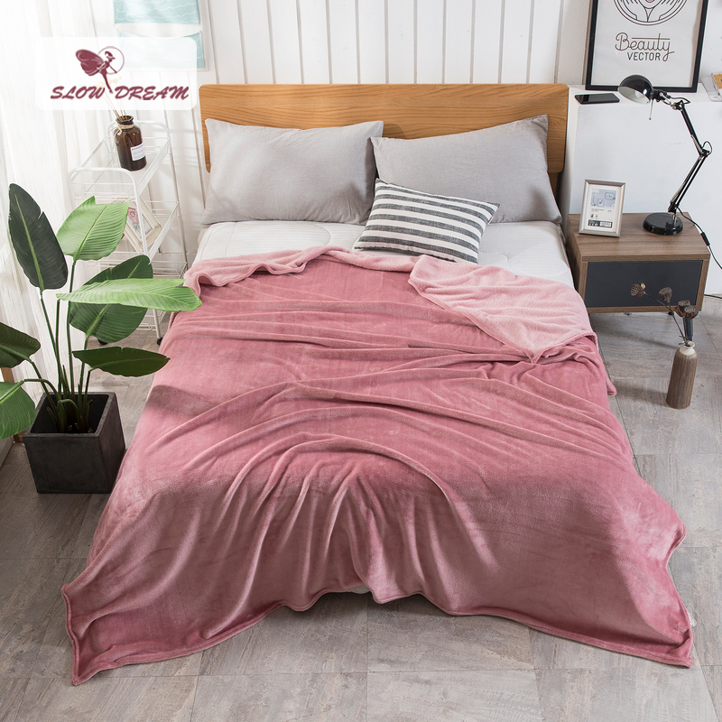 Slowdream Fashion Soft Warm Flannel Blanket Winter Sheet Bedspread Sofa Throw Queen King Size Coral Fleece Blankets 1PCS in Blankets from Home Garden