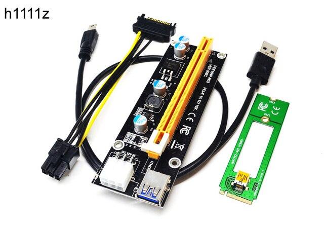 Новый 1X до 16X M2 NGFF PCI-E PCI Express удлинитель Riser Card адаптер 60 см USB 3,0 кабель 6Pin мощность кабель для Bitcoin Miner добыча