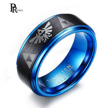 Legend of Zelda Rings for Men 8MM Tungsten Carbide Wedding Bands Ring Two-Tone Blue Black Step Edges Triforce Logo(China)