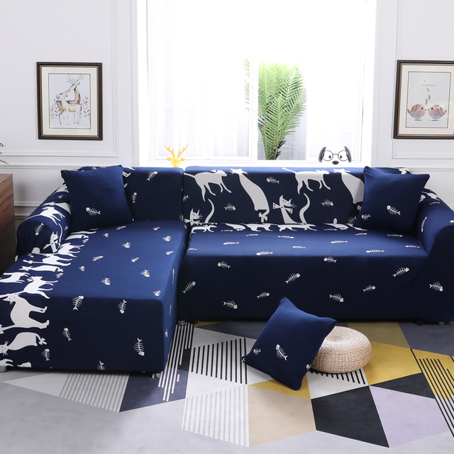 White Cartoon Cat Pattern 1Pcs High Quality Stretch Suede Sectional Sofa  Cover Slipcovers For L