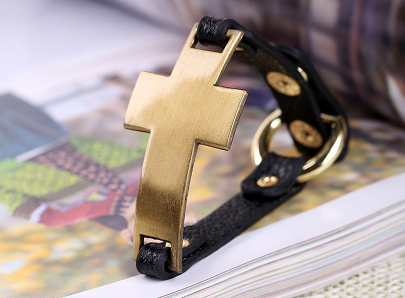 JINSE IDB002 Black ID Bracelet Cross Wristbands Black ID PU Leather Bracelets Catholic Christian Fashion Religious Jewelry