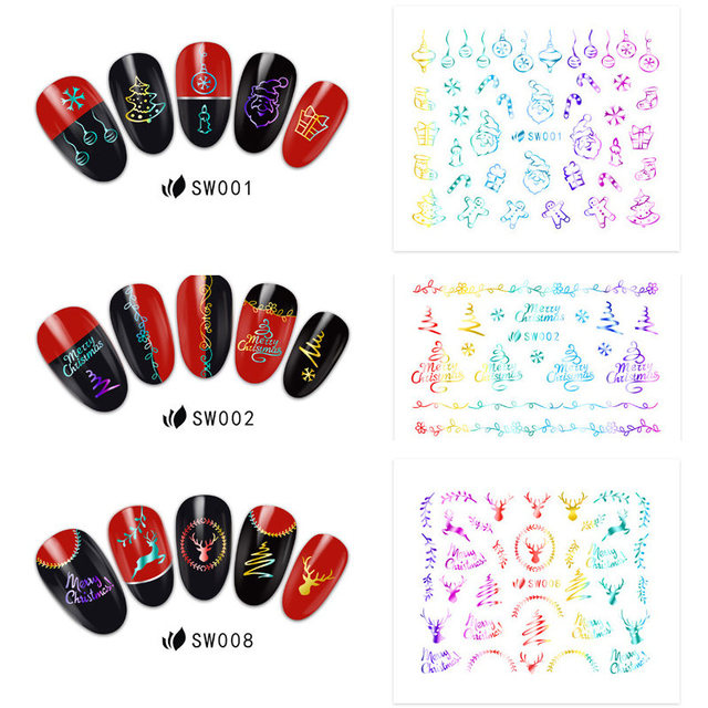 12 Pcs Merry Christmas Design 3d Adhesive Colorful Nail Art Sticker Manicure Decal Christmas Tree