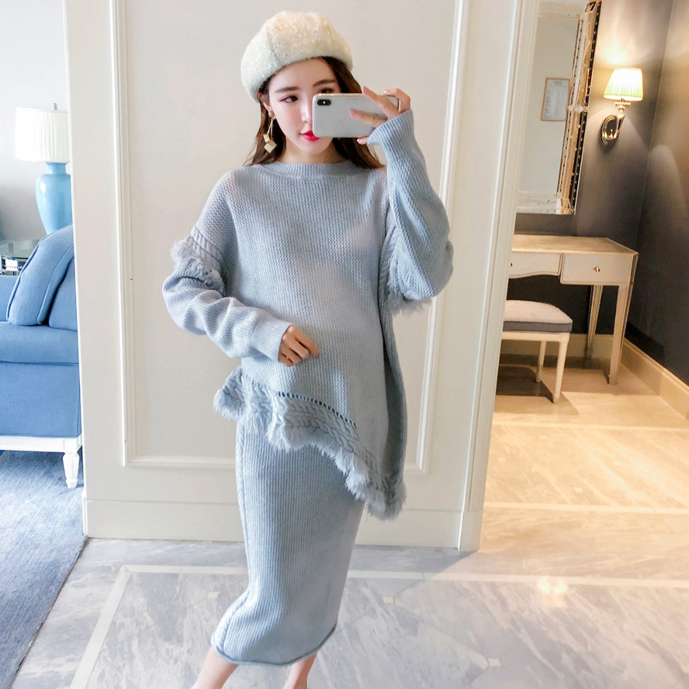 Pregnant women suit temperament irregular fringed sweater 2018 autumn and winter new fashion loose two-piece autumn and winter wear new suit children sweater hooded culottes two piece suit for girls
