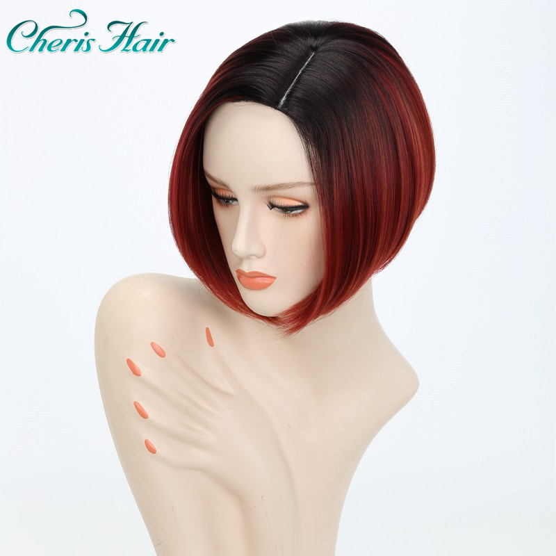 Fashion Afro Wig Short Simple Style Ombre Dark Roots Bulk Hair Straight Wigs Wright Brown Red For Women Wigs With Bangs