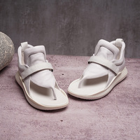 Original 2019 spring and summer new genuine leather flat sandals women's sports simple sandals white shoes women