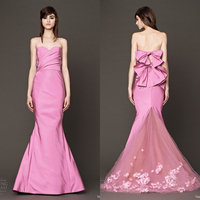 rose red long sweetheart prom 2018 new style sexy back bow vestido de festa flowers party gown mermaid bridesmaid dresses