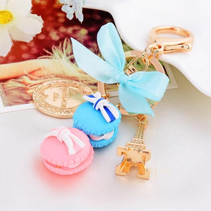 Новинка Творческий Effiel башня брелок торт Macaron брелок кольцо мини Macaron кольцо для ключей Ключи держатель очарование Для женщин сумка Подвеск...