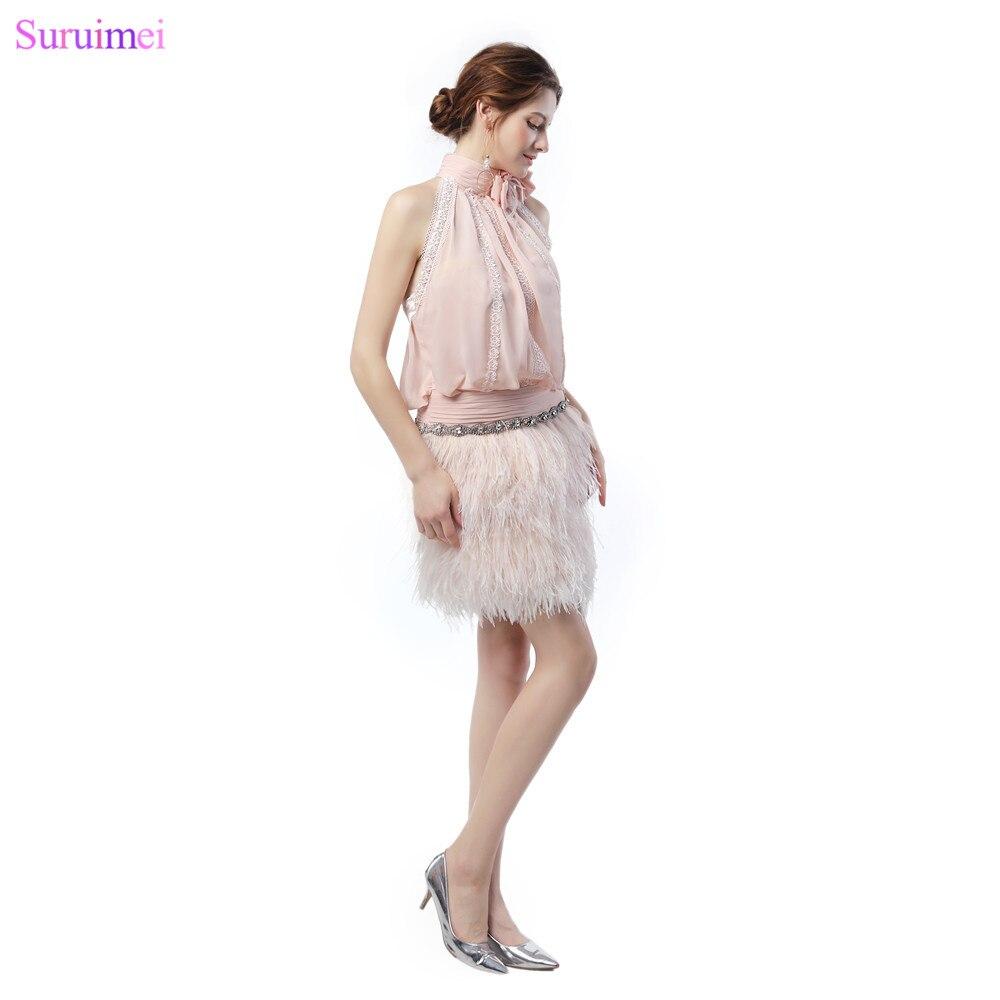 Короткие Румяна розовый Бальные платья с высокое качество featheres роскошный Обувь для девочек вечернее
