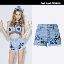 COCKCON embroidery shorts women's denim shorts for women mid waist blue pantalones cortos mujer Elegant short femme TPS118