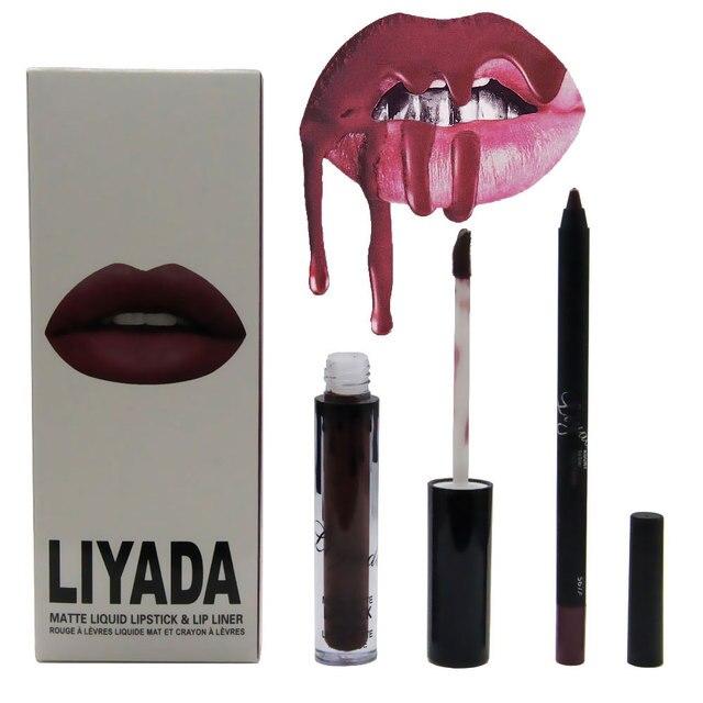 Liyada lips makeup brand liquid matte lipstick+lip liner pencil make up lip gloss set rouge a levre lipstick kit matt lipgloss