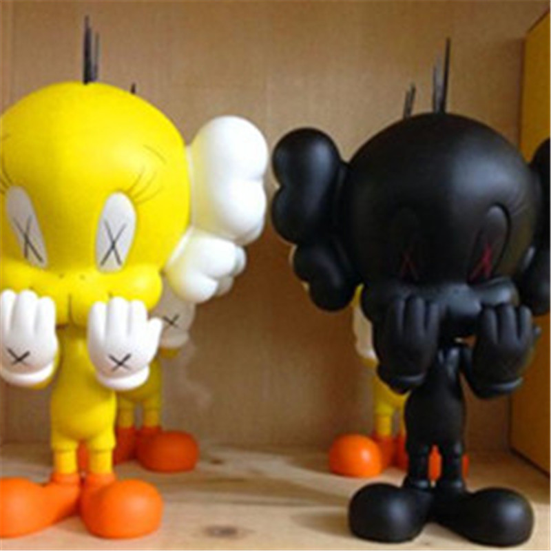 1pc/lot Originalfake Action Figures Yellow/Black Color Action Figure Toys KAWS TWEETY TOY Collection Model Toy Gifts 30cm high quality originalfake kaws reas the twins mono with original box two color optional brown pink
