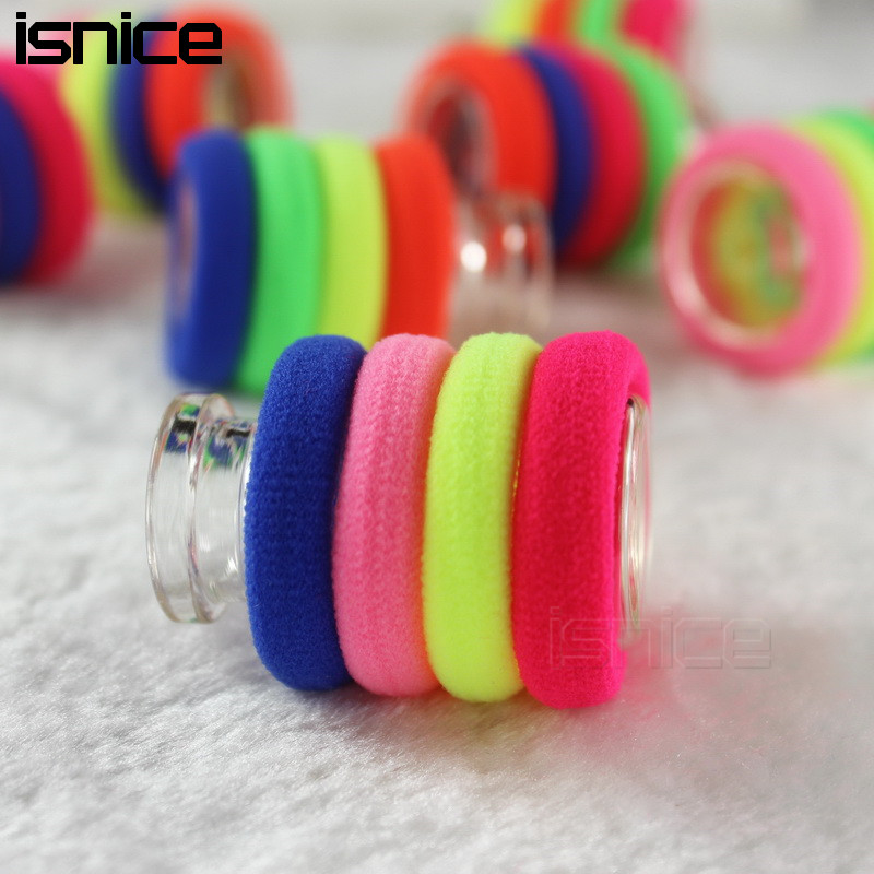 isnice 50pcs Diameter 3cm 0-6 Years Rainbow Color Gum For Hair Rubber bands hair accessories gum for hair Clips haar accessoires