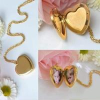 Gold Tone Vintage Necklaces Heart Floating Photo Memory Locket Necklace For Women 3116l Stainless Steel Hot