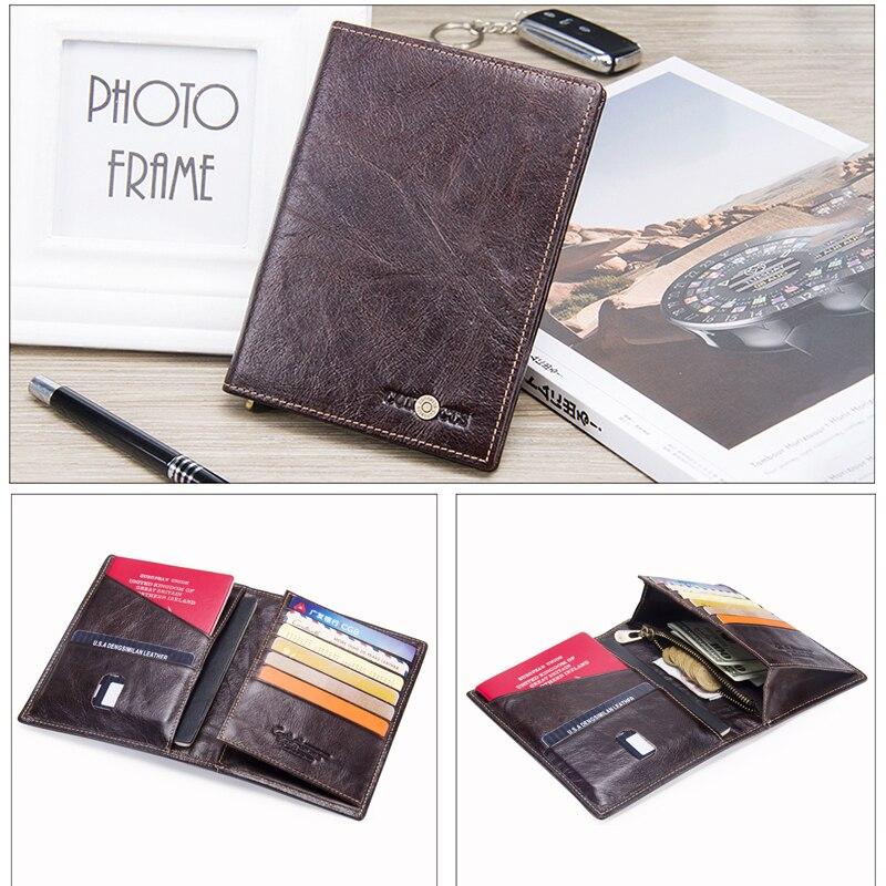 Image 3 - 2020 Contacts Genuine Leather Vintage Wallet Passport Holder  Travel Bag Coin Purse Credit Card Wallets For Men Brand  DesignerWallets
