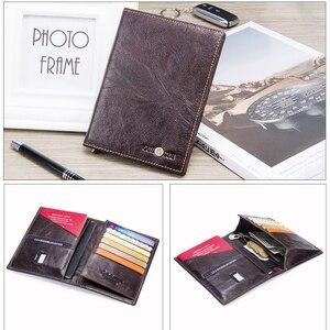 Image 3 - 2020 İletişim hakiki deri Vintage cüzdan pasaport tutucu seyahat çanta para kesesi kredi kartı cüzdan erkekler için marka tasarımcısı