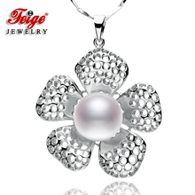 The Latest Design Flower-shaped Genuine 925 Silver Big Pendant Necklaces 10-11mm White Natural Freshwater Pearls Fine Jewelry flower shaped genuine 925 silver pendant necklaces for women s 9 10mm white natural freshwater pearls fine jewelry
