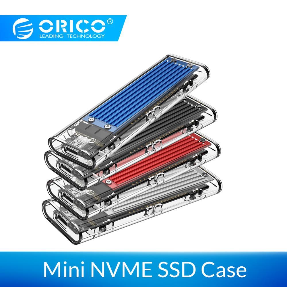 ORICO Mini NVME M.2 to Type-c SSD Case M.2 Key Transparent External m.2 usb c  usb3.1 Gen2 10Gbps  Support UASP for Samsug SSD