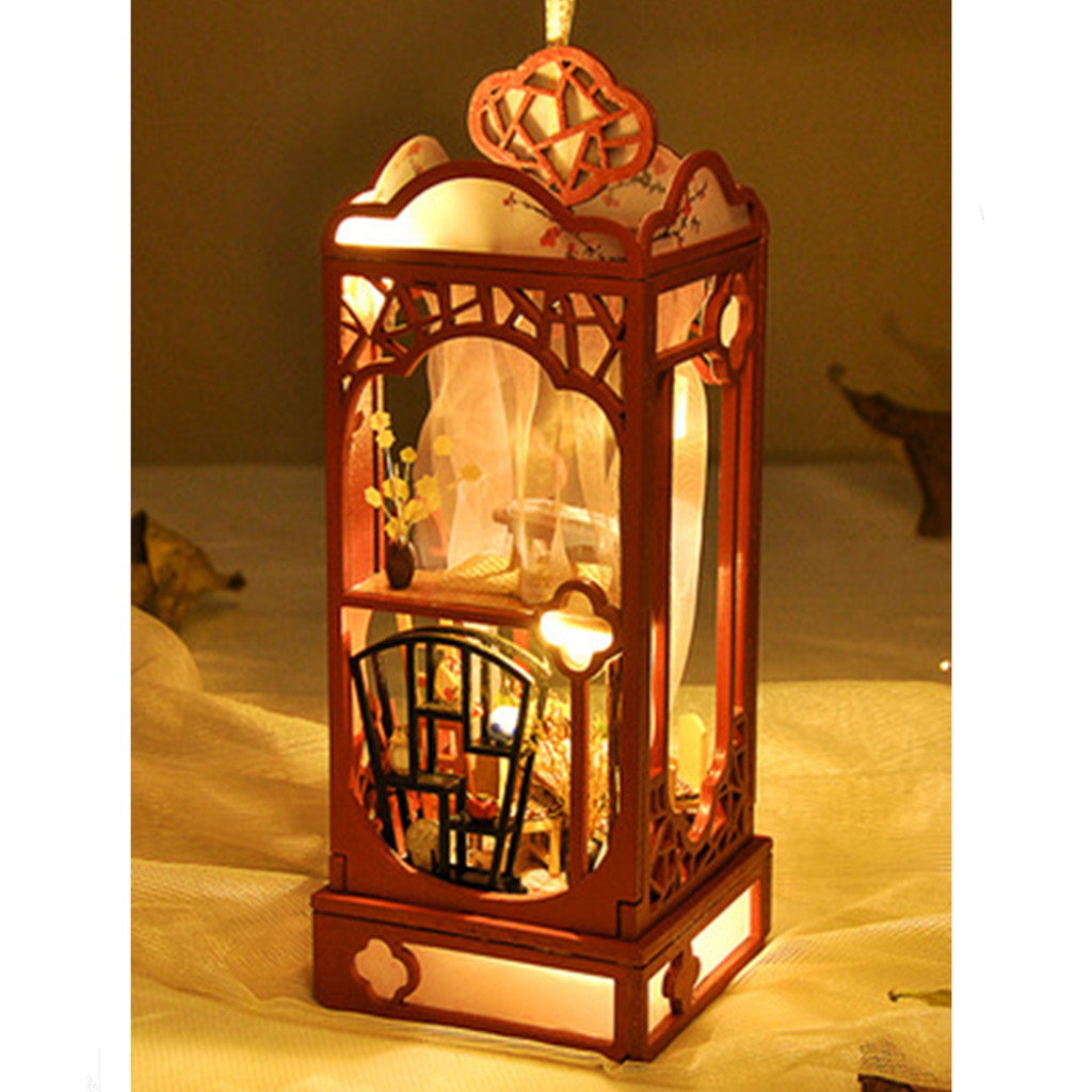 Wooden Doll House Furniture DIY Miniature 3D Model LED Flower Decorate Dollhouse Toys for Children Birthday Gifts W514Wooden Doll House Furniture DIY Miniature 3D Model LED Flower Decorate Dollhouse Toys for Children Birthday Gifts W514