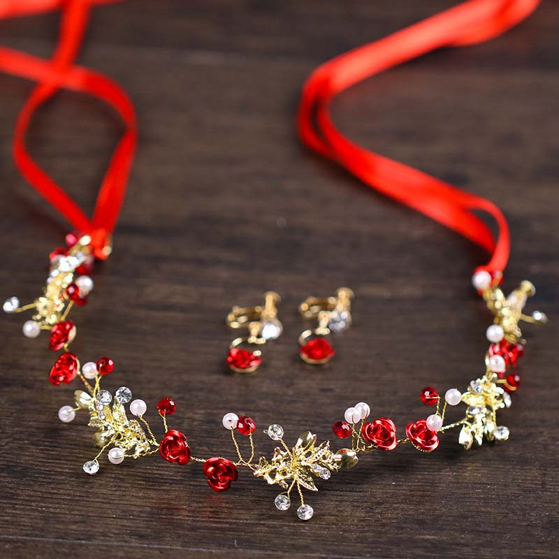 Chinese bride Hair Accessories Red Flower Pearl Bridal Headband With Earrings Wedding Hair Jewelry Tiaras Women Gold Headpiece