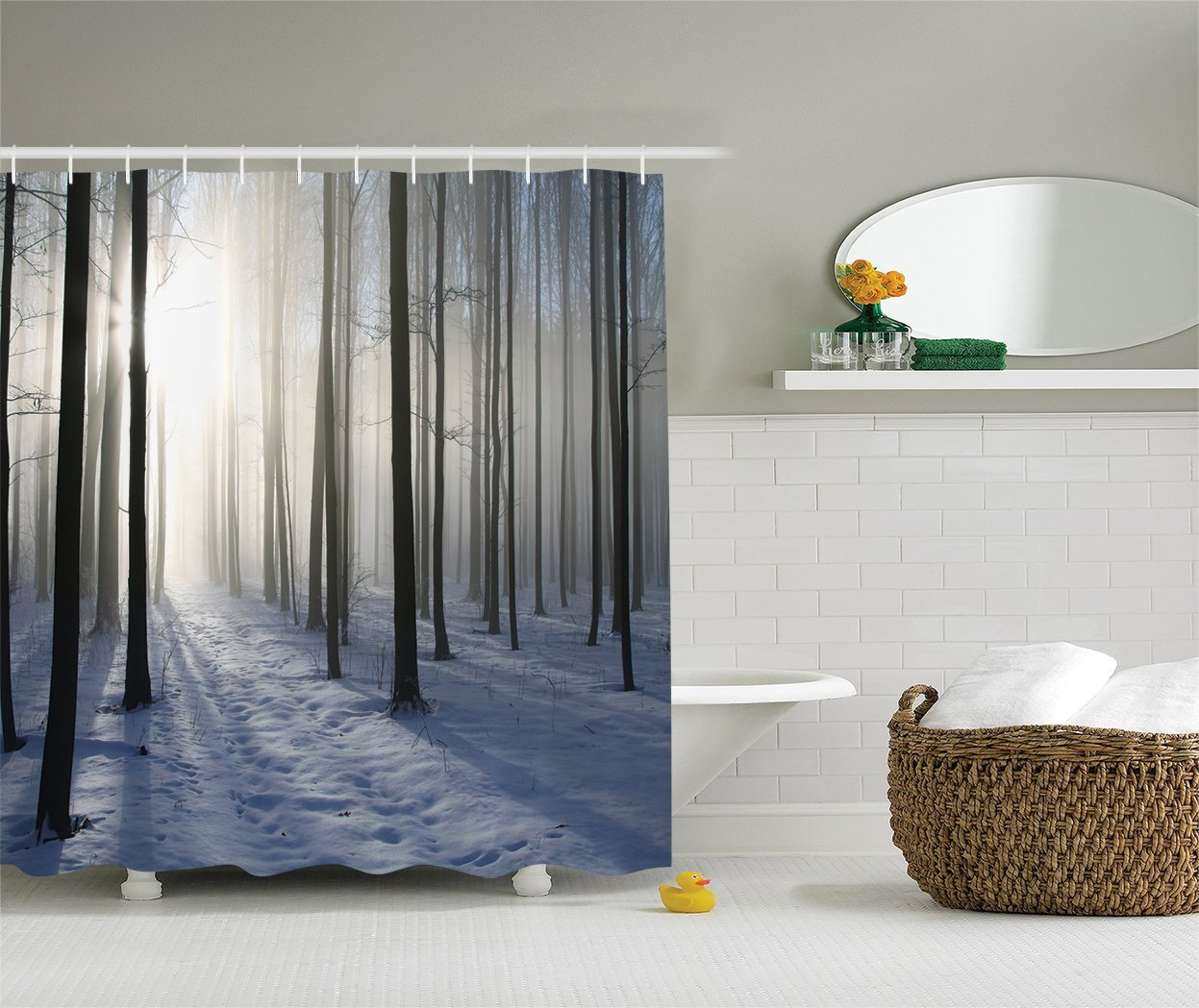 Winter shower curtain - Warm Tour Winter Forest Backlit Morning Sun Fashion Shower Curtain Polyester Curtain Hotel Bathroom With