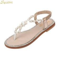 3d479cffd Sycatree Das Sandálias Das Mulheres Sapatos Da Moda Verão 2018 da Menina  Arco Pérola do Diamante
