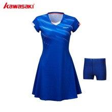 Бренд Kawasaki, женское Спортивное теннисное платье для женщин и девочек, быстросохнущие дышащие однотонные теннисные платья, спортивная одежда, синий, красный, SK-T2701